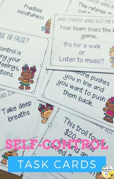Self-control activities for kids. Help students practice self-control strategies with these self-control task cards. Students will read different realistic self-control scenarios and decide which how they would respond and which coping strategies to use. Counseling Office Decor, School Counseling, Social Emotional Learning, Social Skills, Social Work, Elementary School Counselor, Elementary Schools, Bullying Prevention, Self Control