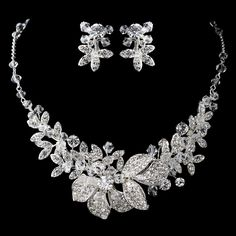 Crystal Bead and Rhinestone Floral Wedding Jewelry Set