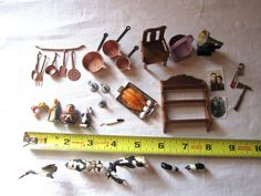 Doll House Miniature Mixed Lot Kitchen Items, Animals, Furniture, Household…