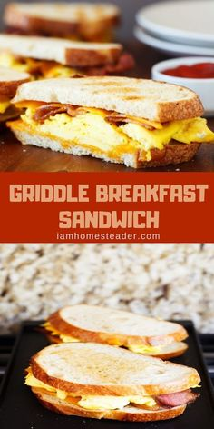 Looking for a Breakfast Sandwich Recipes? Make this Griddle Breakfast Sandwich.This recipe is filled with crispy, thick-cut bacon, loads of fluffy scrambled eggs, extra sharp shredded cheddar cheese, all piled between two fresh cuts of thick sourdough bre Sandwich Bar, Roast Beef Sandwich, Sandwich Ideas, Tea Sandwiches, Best Sandwich Recipes, Breakfast Sandwich Recipes, Burritos, Outdoor Griddle Recipes, Grilling Recipes