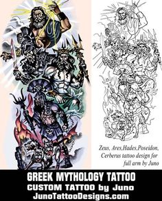 zeus hades ares poseidon tattoo by juno tattoo designs