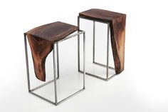 Set of 2 Side Tables - Solid Black Walnut Top with Metal base