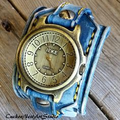 7c513f10e85 Denim Blue Leather Watch Cuff Vintage Men s by CuckooNestArtStudio