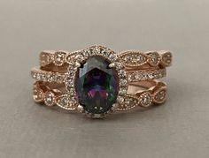 Art Deco Rose Gold Oval Natural Mystic rainbow Topaz Simulated Diamond Engagement Sterling Silver 3PC Fancy Wedding Promise Band Ring Set by SimplySilvery on Etsy