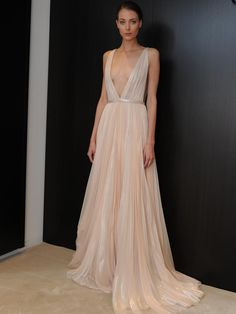 J. Mendel blush wedding dress with plunging neckline from Spring 2015