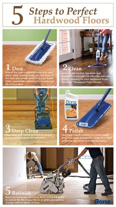 Use these easy 5 steps to effectively clean and maintain your hardwood floors!