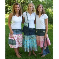Recycled Denim Skirt & Purse By Carolyns Creative Designs , Dresses, Jumpers & Skirts | Quilterswarehouse- pattern available $8.50
