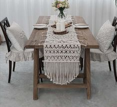 Decorate your table with this macrame table runners. handmade macrame runners with cotton rope The runners are great for your wedding dining or kitchen room table. They're also perfect for any special event. Ask us about bulk discounts! These tablecloth is custom made to order. We have