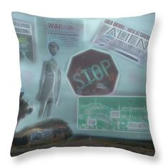 Throw Pillow featuring the photograph Area 51 Follow The Signs If You Dare by Leslie Montgomery