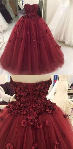 Strapless Prom Dress,Burgundy Prom Dress,Long Party Dress,Tulle Ball