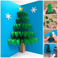 Easy Pop Up Christmas Card - LOVE these Paper Fan Christmas Tree Cards. Working with concertina paper folding techniques, this is a quick and easy card to make for the holidays. Love both the traditional Christmas Tree and white Wint Pop Up Christmas Cards, Christmas Card Display, Christmas Pops, Christmas Card Crafts, Homemade Christmas Cards, Christmas Activities, Holiday Crafts, Christmas Card Ideas With Kids, Everyday Items