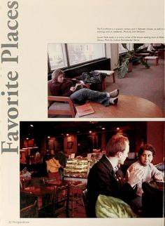"Athena yearbook, 2002. ""Favorite Places."" Students at Ohio University find places to relax on campus (Alden Library) as well as off campus (Donkey Coffee). :: Ohio University Archives"