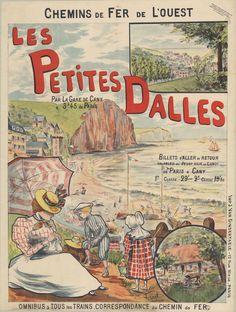 ~ Collection Archives de Seine-Maritime ~ Les Petites-Dalles, un village de charme. Affiche publicitaire des Chemins de fer de l'Ouest, 1900, 63 Fi 125. Au XIXe siècle, avec le développement de la mode des bains de mer, l'ancien village de pêcheurs fait place à des villas, attirant des estivants issus de la bourgeoisie parisienne et normande. Jules Verne, Gustave Flaubert ou encore Guy de Maupassant sont des fidèles.