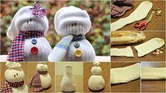 Muñeco de nieve con calcetín, cinco manualidades de Navidad para niños