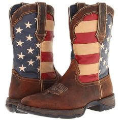 Durango RD4414 - Flag Women's Pull-on Boots ($140) ❤ liked on Polyvore featuring shoes, boots, roll up shoes, rocker boots, slip on shoes, american shoes and square toe boots