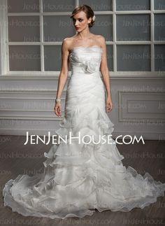 Wedding Dresses - $204.99 - Mermaid Strapless Court Train Chiffon  Satin Wedding Dresses With Ruffle (002011995) http://jenjenhouse.com/Mermaid-Strapless-Court-Train-Chiffon--Satin-Wedding-Dresses-With-Ruffle-002011995-g11995