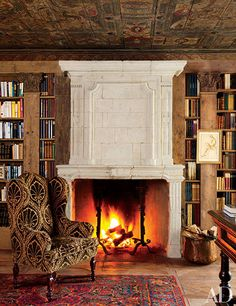 A chalet in St Moritz designed by Studio Peregalli. Photo by Oberto Gili. A chalet in St Moritz designed by Studio Peregalli. Photo by Oberto Gili. Cozy Fireplace, Living Room With Fireplace, Fireplace Design, Fireplace Ideas, Living Rooms, Library Fireplace, Cottage Fireplace, Fireplace Mantles, White Fireplace