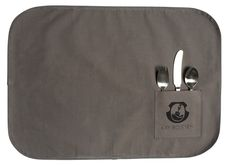 The canvas placemat. Kay Bojesen Grand Prix child set set consists of a spoon fork, a child knife, and a child spoon. Wrapped in a canvas placemat. Danish Design, Placemat, New Outfits, Flatware, Grand Prix, Fork, 3 Piece, Spoon, Two By Two