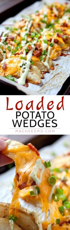 Loaded Potato Wedges - Appetizer? Side dish? Main meal? These completely loaded baked potato wedges have can be anything you want. Cheddar, chives, and an avocado sour cream sauce. Potato perfection! | macheesmo.com Potato Meals, Potato Snacks, Potato Side Dishes, Potato Appetizers, Chicken Wing Side Dishes, Potato Sides, Potato Food, Cookout Appetizers, Chicken Sides