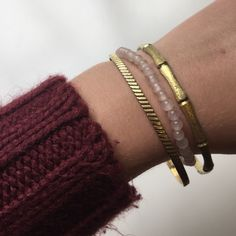 Gold and pink bangle set Two gold bangles and a pink stretchy bracelet are perfect for layering during the summer time with maybe a white peplum top or a cute shorter dress and sandals. Jewelry Bracelets