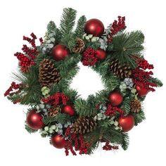 Artificial Christmas Wreaths, Christmas Wreaths To Make, Christmas Door Decorations, Holiday Wreaths, Christmas Diy, Christmas Wreath With Ornaments, Pinecone Christmas Crafts, Outdoor Christmas Wreaths, Natural Christmas