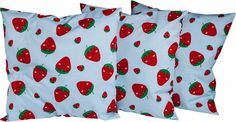Süßes Kissen - 3er Set für die Küche mit Erdbeerdruck  Stoffart: 100 % Baumwolle  Größe: 40 cm x 40 cm