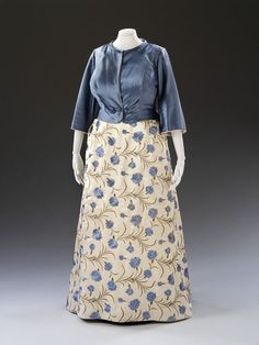 Evening ensemble of dress, jacket, petticoat, bag and train.  - Maria Grimaldi, Switzerland, 1960. Machine embroidered satin.  The dress is lined with silk