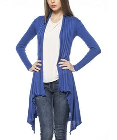 Loving this Sax Blue Knit Sidetail Open Cardigan on #zulily! #zulilyfinds