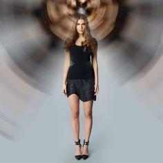Luxury Jacqueline Piron t-shirt with leather and Swarovski crystals Swarovski Crystals, Luxury, T Shirt, Leather, Shopping, Black, Dresses, Fashion, Moda