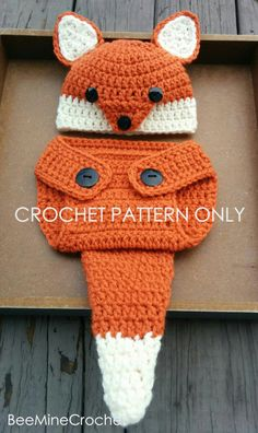 Looking for your next project? You're going to love Newborn Crochet Fox Outfit by designer Looking for your next project? You're going to love Newborn Crochet Fox Outfit by designer Crochet Fox, Crochet For Boys, Free Crochet, Crochet Baby Clothes, Crochet Baby Hats, Crochet Baby Outfits, Booties Crochet, Blanket Crochet, Double Crochet Decrease