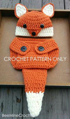 Fox patroon gehaakte pasgeboren Outfit Baby 0-3 door BeeMineCrochet