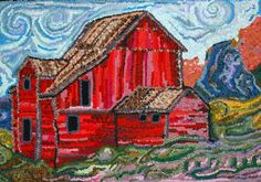 THE GREEN MOUNTAIN RUG HOOKING SHOW: HOOKED IN THE MOUNTAINS XVII--Love this sky!