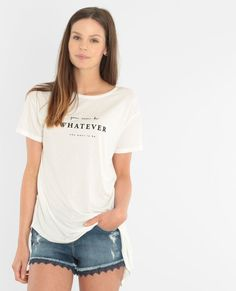 Camiseta asimétrica con mensaje marfil