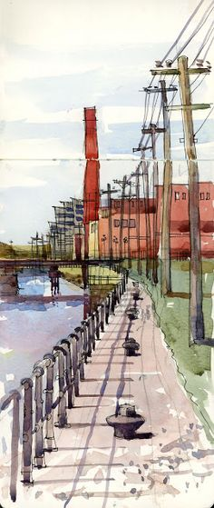 Urban Sketchers: Two views of the Lachine Canal