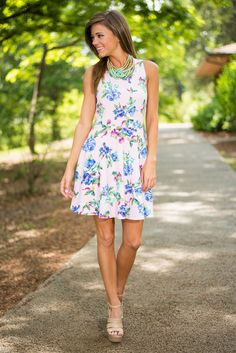 Fancy Free Florals Dress, Periwinkle - The Mint Julep Boutique