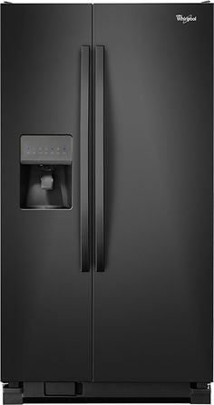 Whirlpool - 25.4 Cu. Ft. Side-by-Side Refrigerator with Thru-the-Door Ice and Water - Black - Front Zoom
