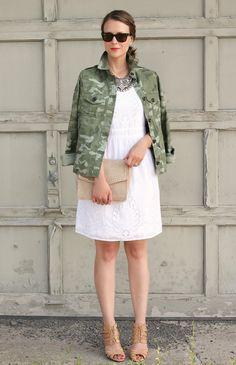 White dress + camo jacket