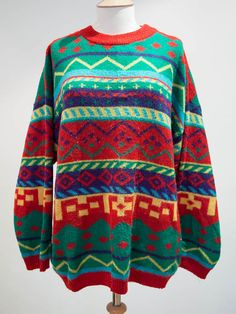 Multicoloured Pattern Knit Jumper by HouseofBricks on Etsy