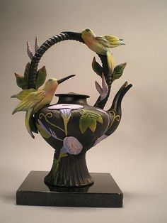 """Two Hummingbird Tea""  Ceramic Teapot - STUDIO SALE  Created by Nancy Y. Adams  One of a Kind"