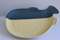 Vintage Utsuwa Pottery Japanese Fish Plate by TwoCatsVintage, $25.00