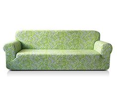 Chunyi Printed Sofa Covers 1-Piece Spandex Fabric Slipcover (Loveseat, Green)