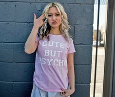 Women's Cute But Psycho Tshirt Printed Psychopath Cutie T-Shirt. Available in 9 colors! This design is available in Men's and Kids Size T-shirts, and in Long Sleeve Crewneck and Hoodie.