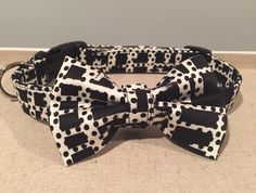 A personal favorite from my Etsy shop https://www.etsy.com/listing/237494619/black-white-geometric-print-dog-collar