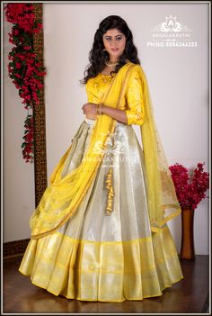 silk lehenga designs by Angalakruthi Half Saree Lehenga, Lehenga Gown, Lehnga Dress, Bridal Lehenga Choli, Anarkali, Half Saree Designs, Lehenga Designs, Saree Blouse Designs, Kids Blouse Designs
