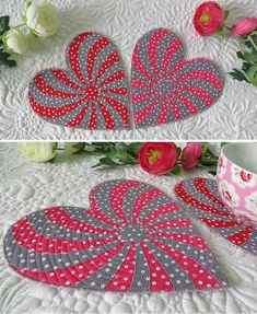 Free Heart Pattern for Coasters- learn how to sew 2 coasters in less than 2 hours. Click to download the free pattern. #freeheartpattern #heartcoasterpattern #heartquiltpattern