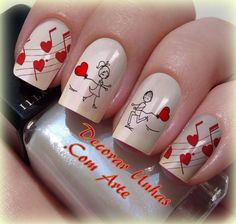 heart nail designs, Heart nail styles aren't just for Valentine's Day. you'll be able to conjointly produce cute hearts on your nails once you feel romantic Heart Nail Designs, Valentine's Day Nail Designs, Nail Art Coeur, Love Nails, Pretty Nails, Music Nails, Music Nail Art, Nail Art Instagram, Valentine Nail Art