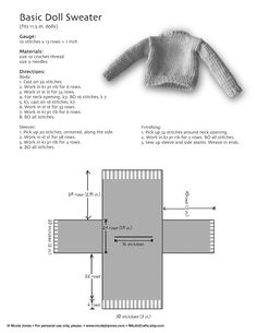 Basic Barbie Doll Sweater.  Knitted. Niki Jin Crafts: New Etsy Shop and Free Pattern