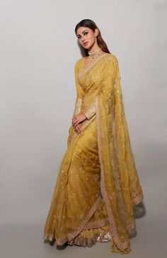 Diwali Looks from Celebrities for your Diwali after the Wedding! Mouni Roy in yellow saree with golden zardosi embroidery Indian Bridal Outfits, Indian Designer Outfits, Dress Indian Style, Indian Dresses, Abaya Style, Saris Indios, Designer Saree Blouses, Sari Bluse, Indian Outfits