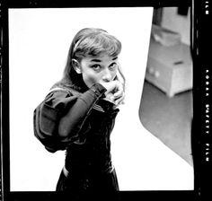 "vintagegal: ""Audrey Hepburn photographed by Milton Greene for her Broadway debut as Gigi (1951) """