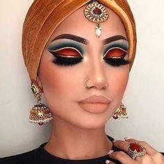 Indian Makeup (could be a greek goddess makeup too) Lidschatten Makeup Inspo, Makeup Art, Makeup Inspiration, Makeup Tips, Beauty Makeup, Hair Makeup, Makeup Ideas, Makeup Trends, Prom Makeup